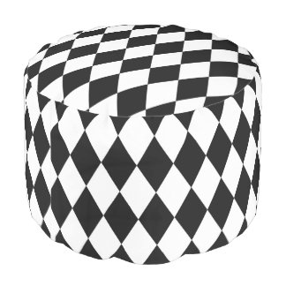 Black and White Diamonds Checkered pattern Pouf