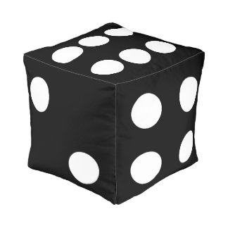 black and white dice pouf