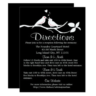 Black And White Directions Lovebirds Wedding Party Card
