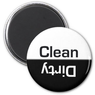 Black and White Dishwasher Clean-Dirty Magnet