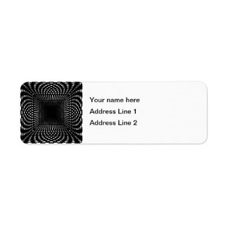 Black and White Distorted Checkered Pattern Return Address Label