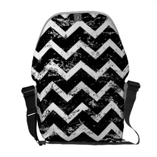 Black and white distressed chevron courier bags