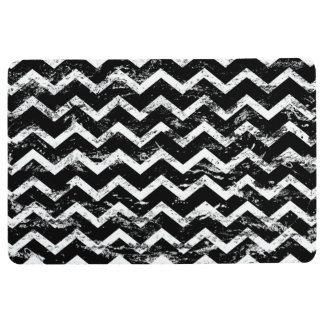 Black and white distressed chevron floor mat