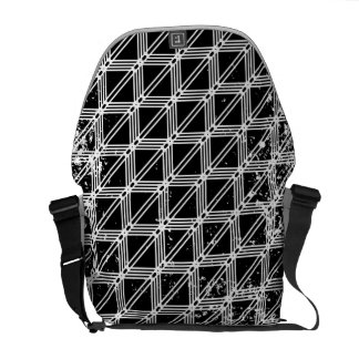 Black And White Distressed Grid Pattern Commuter Bags