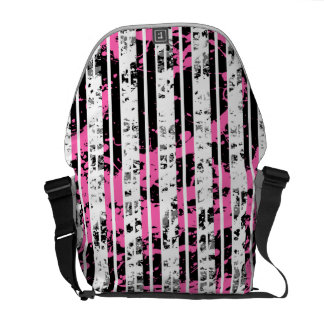 Black and White Distressed Pinstripe Pattern Commuter Bag
