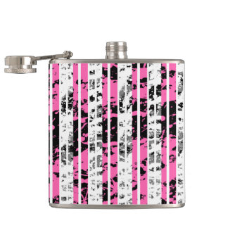 Black and White Distressed Pinstripe Pattern Hip Flask