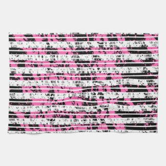 Black and White Distressed Pinstripe Pattern Kitchen Towel