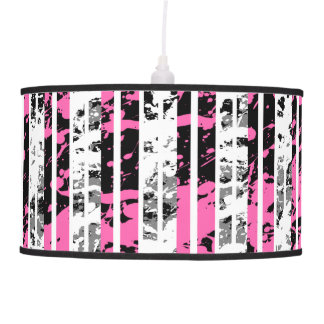 Black and White Distressed Pinstripe Pattern Pendant Lamp