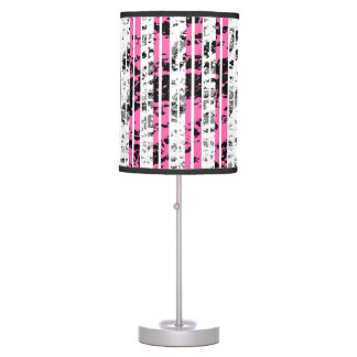 Black and White Distressed Pinstripe Pattern Table Lamp