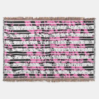 Black and White Distressed Pinstripe Pattern Throw Blanket