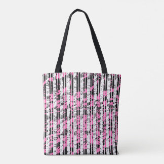 Black and White Distressed Pinstripe Pattern Tote Bag