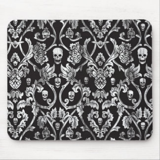 Black and white distressed skull damask. mouse pad