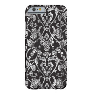 Black and white distressed skull damask pattern. barely there iPhone 6 case
