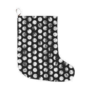 Black and White Distressed Spots Pattern Large Christmas Stocking