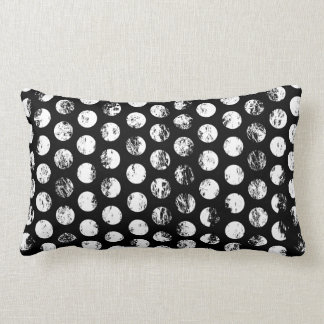 Black and White Distressed Spots Pattern Lumbar Pillow