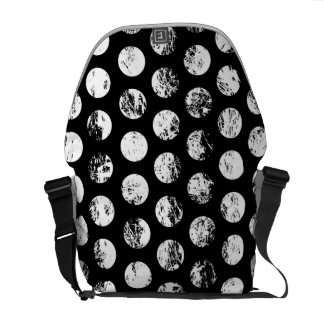 Black and White Distressed Spots Pattern Messenger Bags