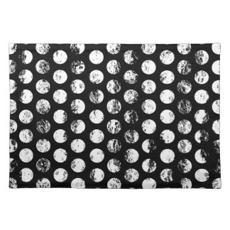 Black and White Distressed Spots Pattern Placemat