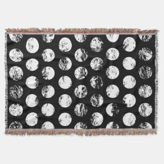 Black and White Distressed Spots Pattern Throw Blanket