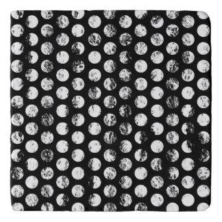 Black and White Distressed Spots Pattern Trivet