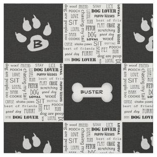 Black and White Dog Bone | Name and Monogram Fabric