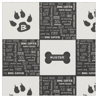 Black and White Dog Bone | Name and Monogram Fabric