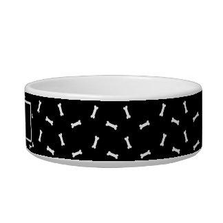 Black and White Dog Bones Personalized Dog Dish