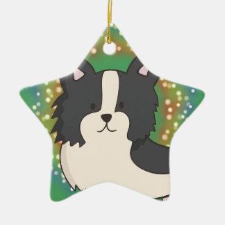 Black and White Dog Ceramic Ornament