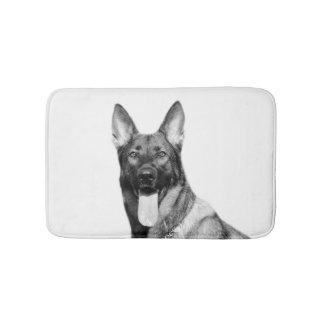 Black and white dog german shepherd animal photo bath mat