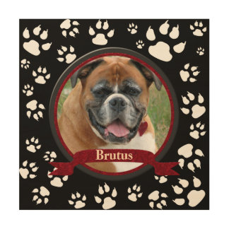 Black and White Dog Memorial Paw Prints Wood Print