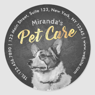 Black and White Dog Oil Painting Pet Care Grooming Classic Round Sticker