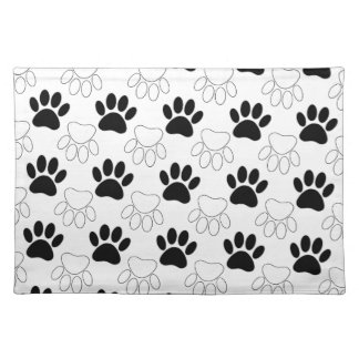 Black And White Dog Paw Print Pattern Placemat