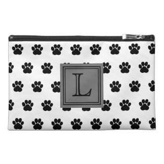 Black and White Dog Paw Print With Monogram Travel Accessories Bag
