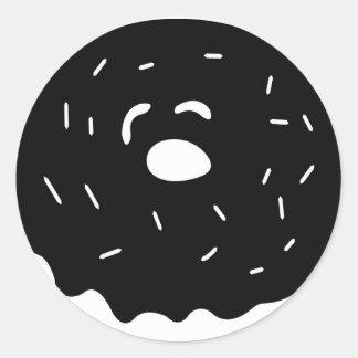 Black and White Donut Round Sticker