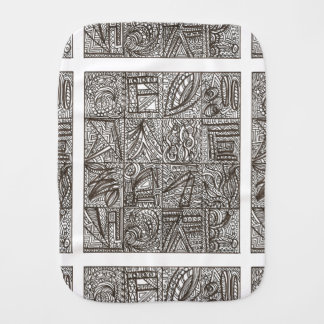 Black And White Doodle-Abstract Art Ink Drawing Baby Burp Cloths