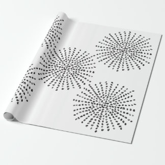 Black and White Dot Burst Pattern Gift Wrapping Paper