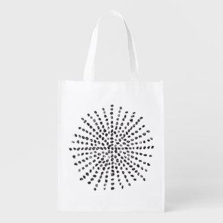 Black and White Dot Burst Reusable Bag Grocery Bag