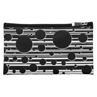 Black and White Dots and Stripes Cosmetic Bag