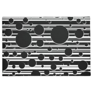 Black and White Dots and Stripes Doormat