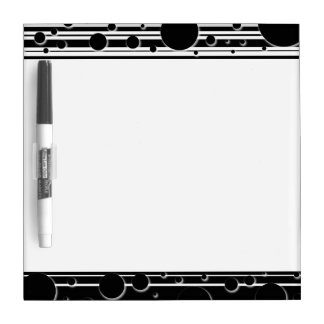 Black and White Dots and Stripes Dry Erase Board