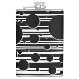 Black and White Dots and Stripes Hip Flask