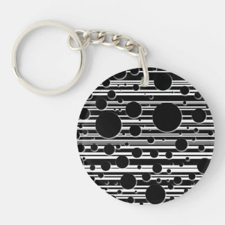Black and White Dots and Stripes Keychain