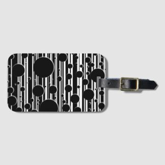 Black and White Dots and Stripes Luggage Tag