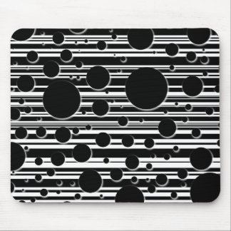 Black and White Dots and Stripes Mouse Pad