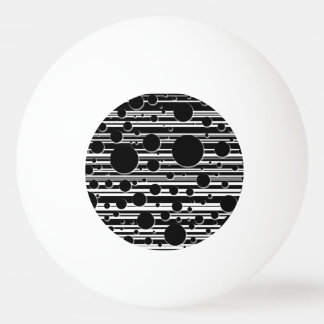 Black and White Dots and Stripes Ping-Pong Ball