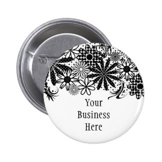 Black And White Dotted Flowers Button