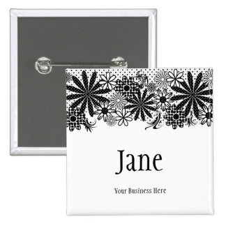 Black And White Dotted Flowers Name Badge Button