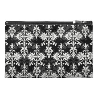 Black and White Double Damask Travel Accessory Bag