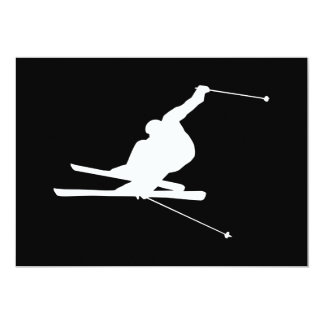 Black and White Downhill Skier Card
