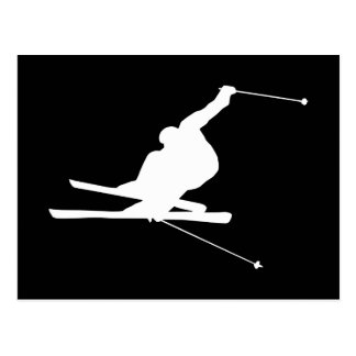 Black and White Downhill Skier Postcard