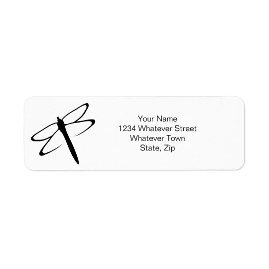 Black And White Dragonfly Return Address Label